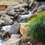 pondless waterfall flower bed